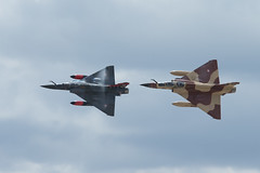 """French Air Force """"Couteau Delta"""" Role Demo display team with 2x Dassault Mirage 2000D at RIAT 2017 on Friday 14th July."""