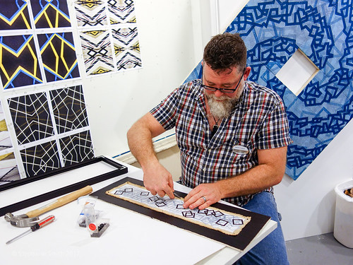 Artist Jeffrey Ludwig-Dicus in his studio at The Banana Factory