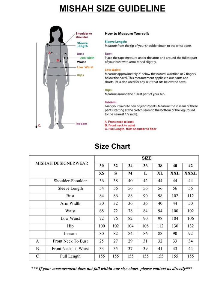 Mishah Size Guideline Chart