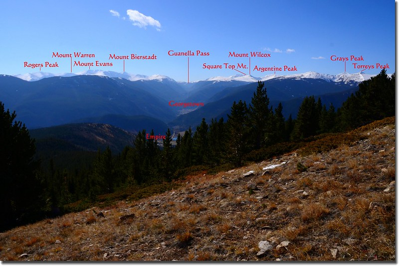 Looking South at Guanella Pass & Mount Evans et al. from Bill Moore Lake Trail near 10,780' (1)-1