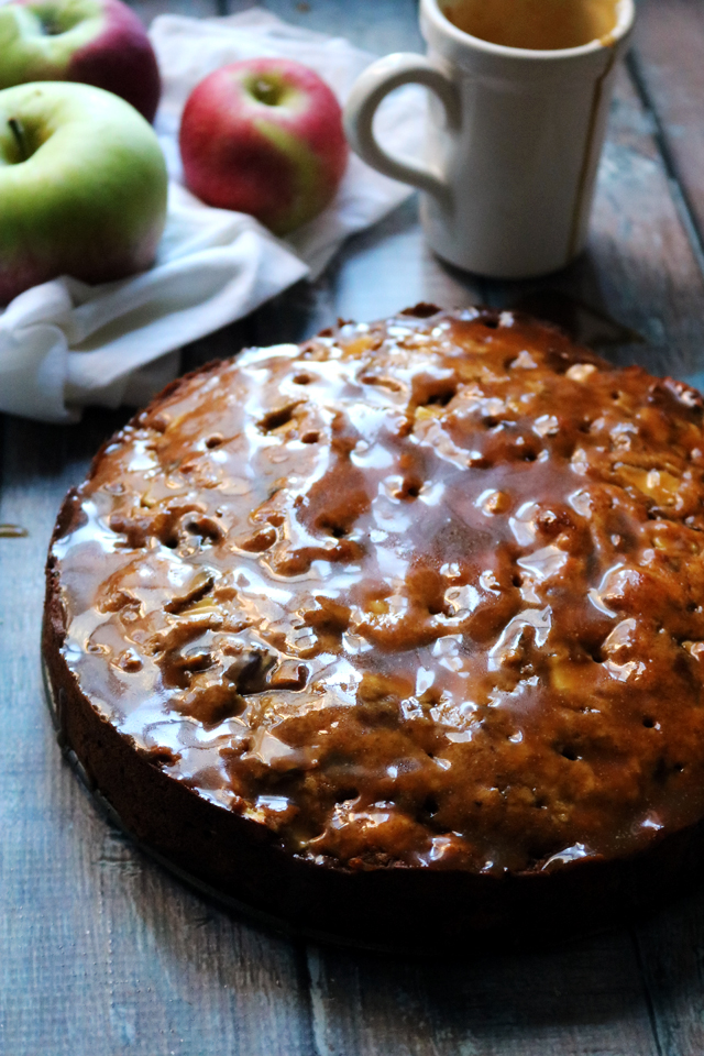 Sticky Caramel Apple Ginger Date Cake
