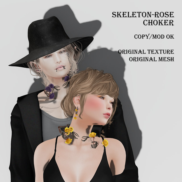 Skeleton-rose-choker & pierces