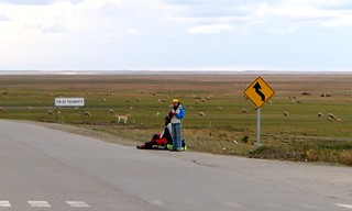 Hitchhiker waiting at the end of the world