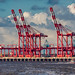 Cranes on the waterside - River Mersey, Liverpool. UK.