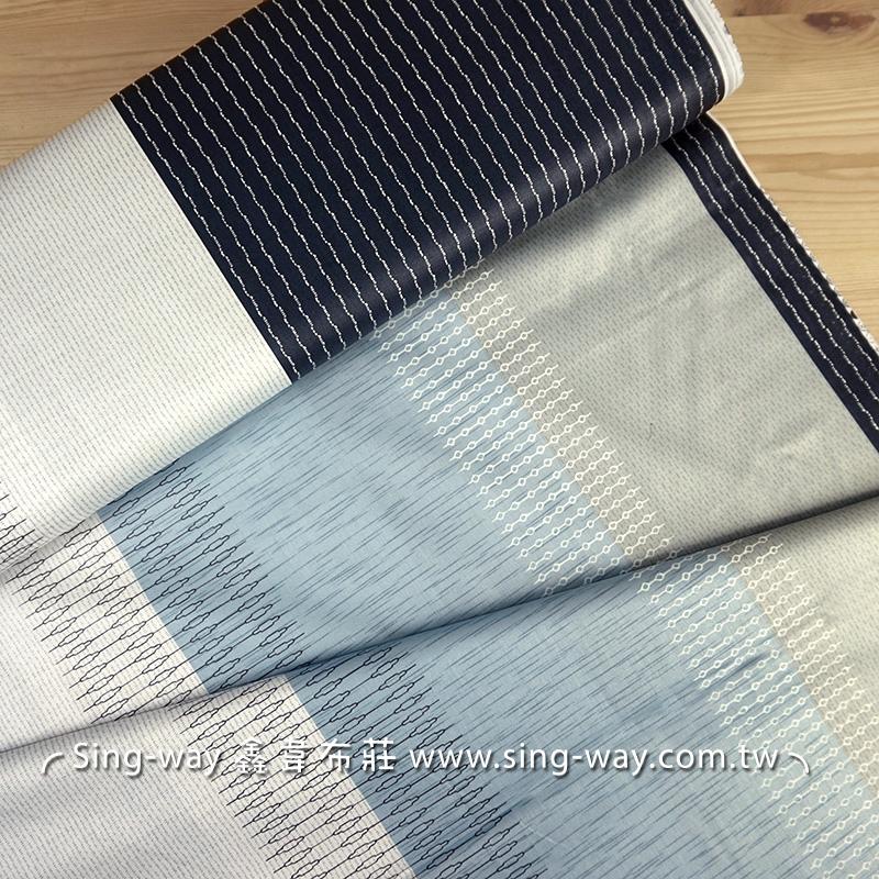 灰藍相間 變化條紋 精梳棉床品床單布料 CA490367