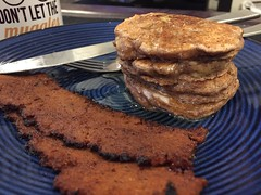 Vegan Spiced Banana Pancakes & Seitan Bacon