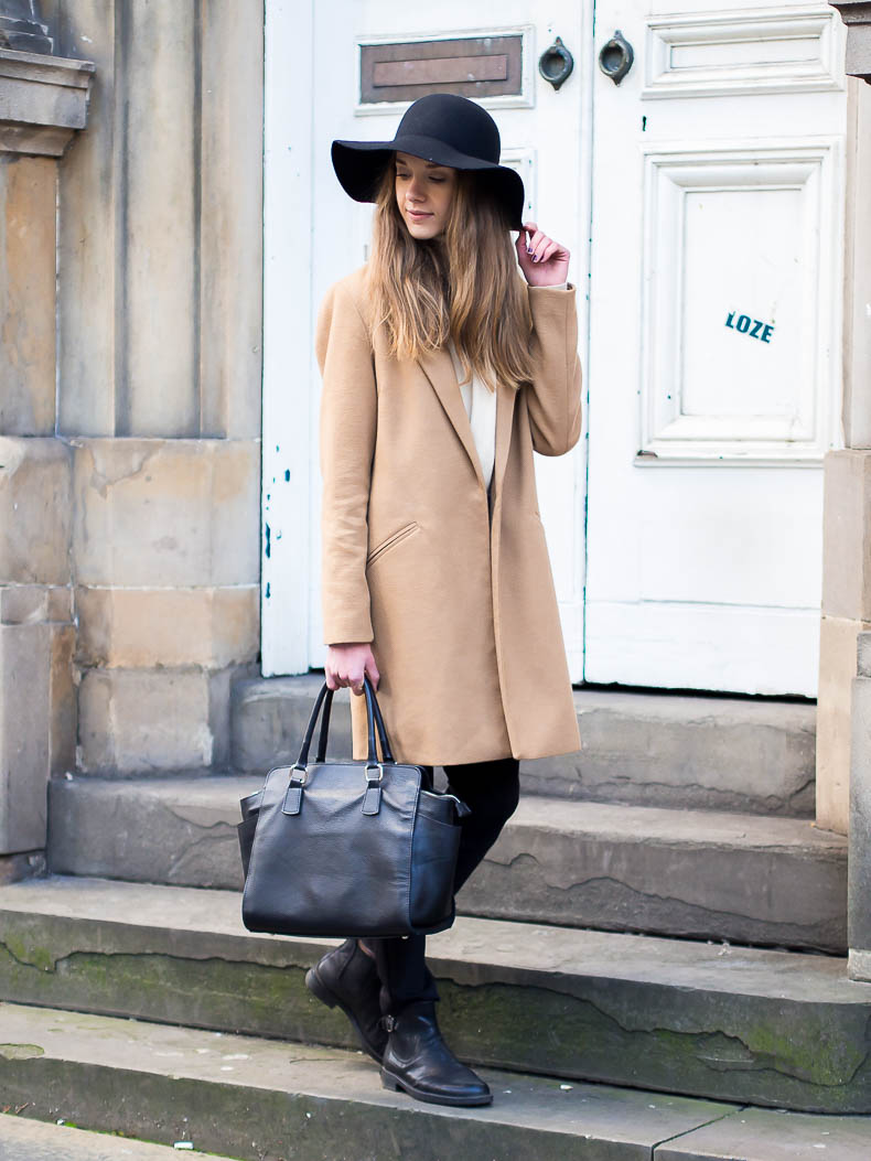 Camel coat and fedora hat outfit