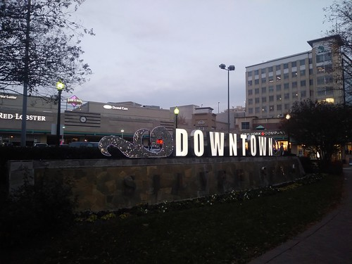Downtown Silver Spring sign, lit up at night