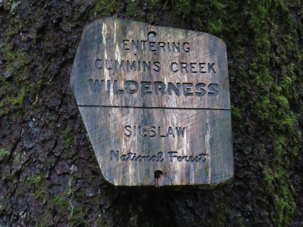 Cummins Creek Wilderness sign