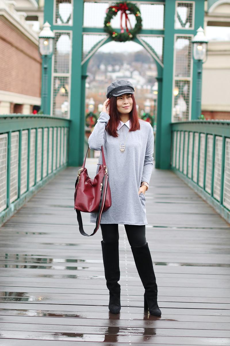 gray shirt dress, newsboy hat