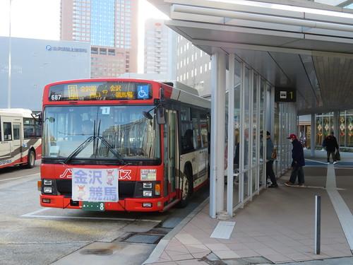 金沢駅前西口にある金沢競馬場行のバス乗り場