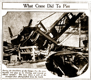 "28 April 1934 - ""WHAT CRANE DID TO PIER"", Coogee, Sydney, New South Wales, Australia"