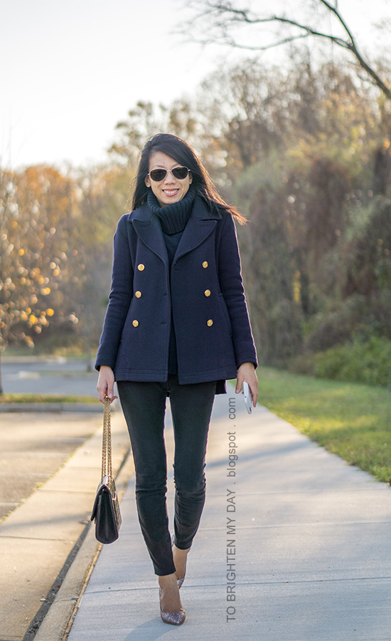 navy pea coat, navy turtleneck sweater tunic, black skinny jeans, black shoulder bag, pink glitter pumps