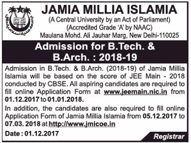JMI B.Tech Admission Notification 2018