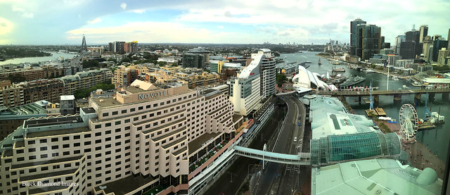 View over Anzac Bridge, Novotel & Ibis Hotels & Barangaroo from the Sofitel Hotel, Darling Harbour, Sydney, NSW