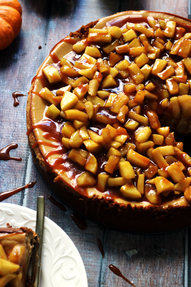 Brown Sugar Apple Cheesecake with Maple Cinnamon Apple Compote