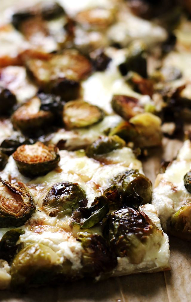 Crispy Brussels Sprouts and Ricotta Pizza with Balsamic Glaze