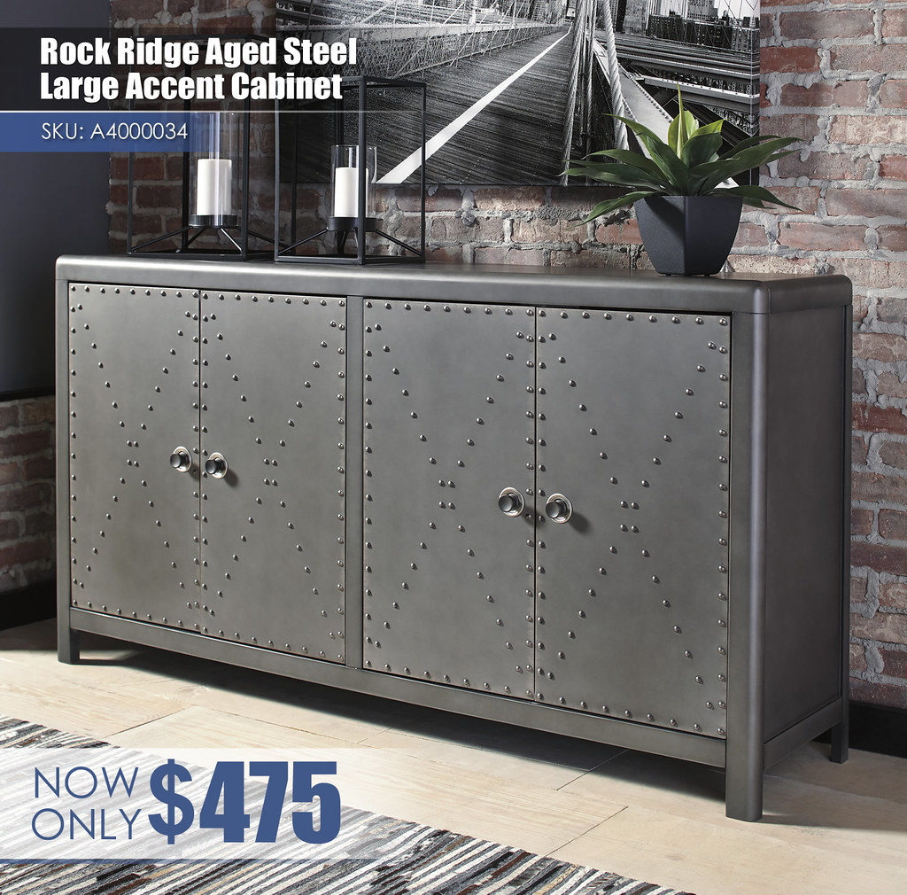A4000034 - Rock Ridge Aged Steel Large Accent Cabinet $475