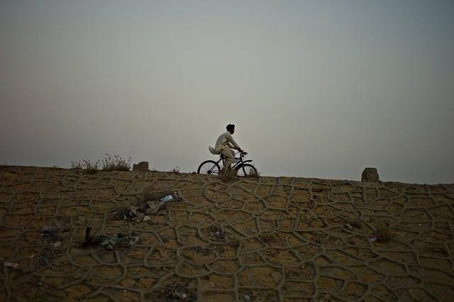 man on bicycle..