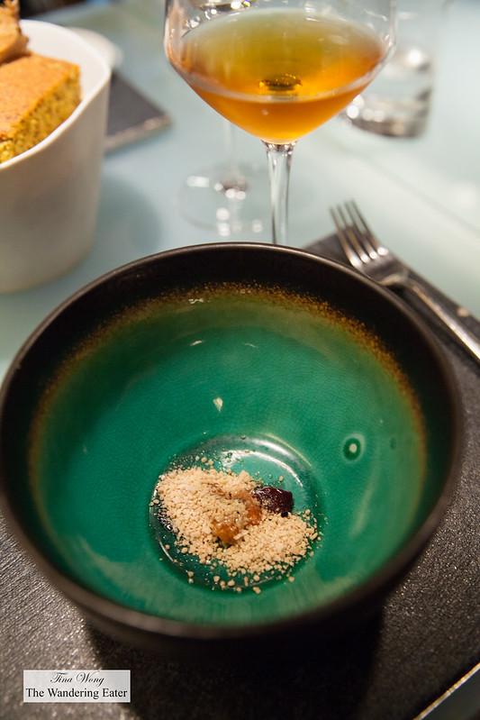 Pre-dessert - Sweet bread, soy, cherry, and foie gras paired with Principe Pallavicini 'Stillato' Passito di Malvasia Puntinata