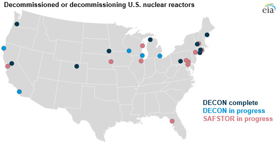 Decommissioned Or Decommissioning Us Nuclear Reactors Flickr - Map-of-nuclear-reactors-in-us