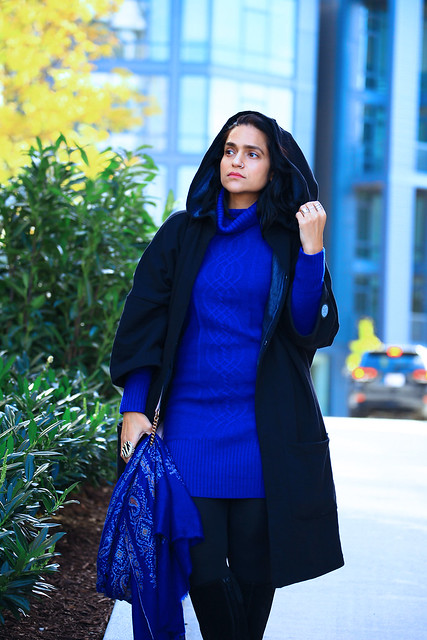 Cobalt Sweater Dress Tanvii.com
