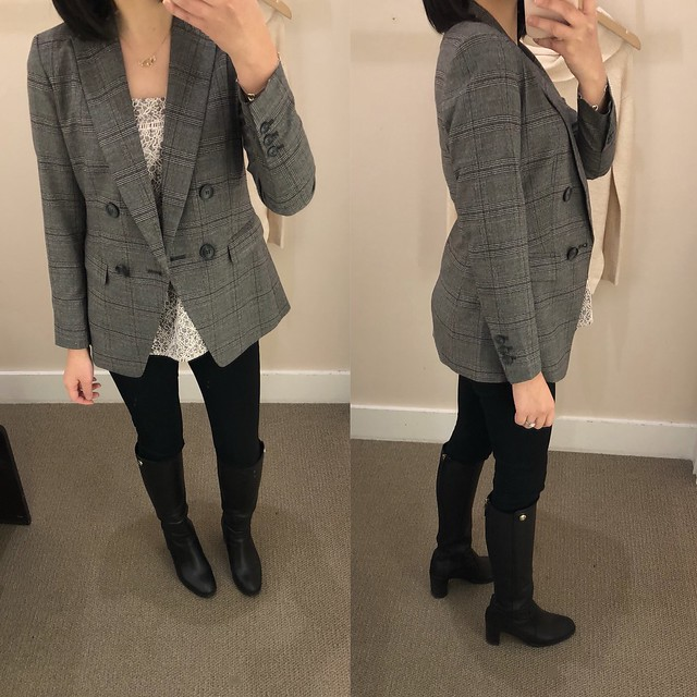 LOFT Plaid Double Breasted Blazer, size 00P