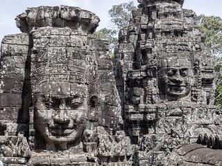 Caras sonrientes en el Templo de Bayón, Angkor Thom, Camboya