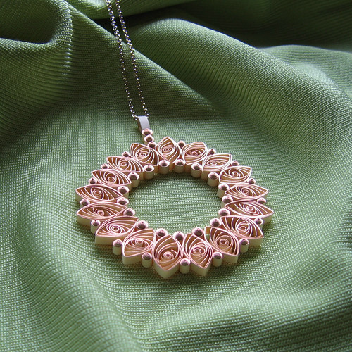 Quilled Wreath Pendant Necklace - Rose Gold Paper