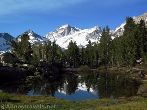 Reflections in a small tarn along the Mono Pass Trail in Inyo National Forest, California
