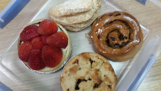 Flan, Apple Turnover, Cinnamon Raisin Scroll, Apple Rhubarb Crumble