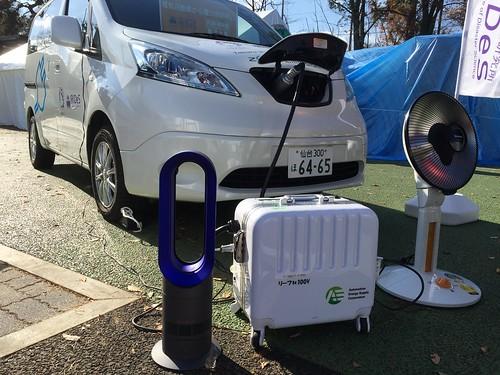 e-NV200から暖房器具への給電デモ@ぼうさいこくたい2017