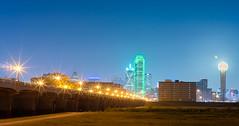 Dallas skyline on a full moon night