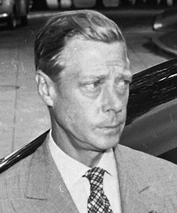 Photograph of the Duke of Windsor outside the White House on the date of the announcement of the Japanese surrender ending World War II, August 14, 1945.