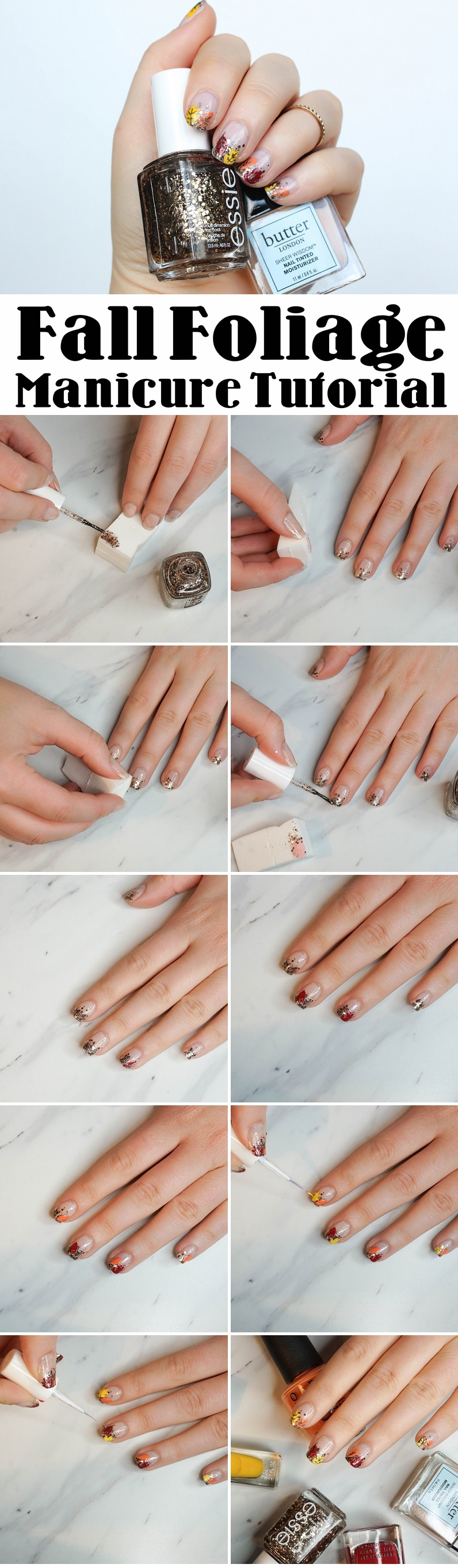 Step by Step Fall Foliage Manicure Tutorial Glitter Nail Art Jackie Giardina Living After Midnite