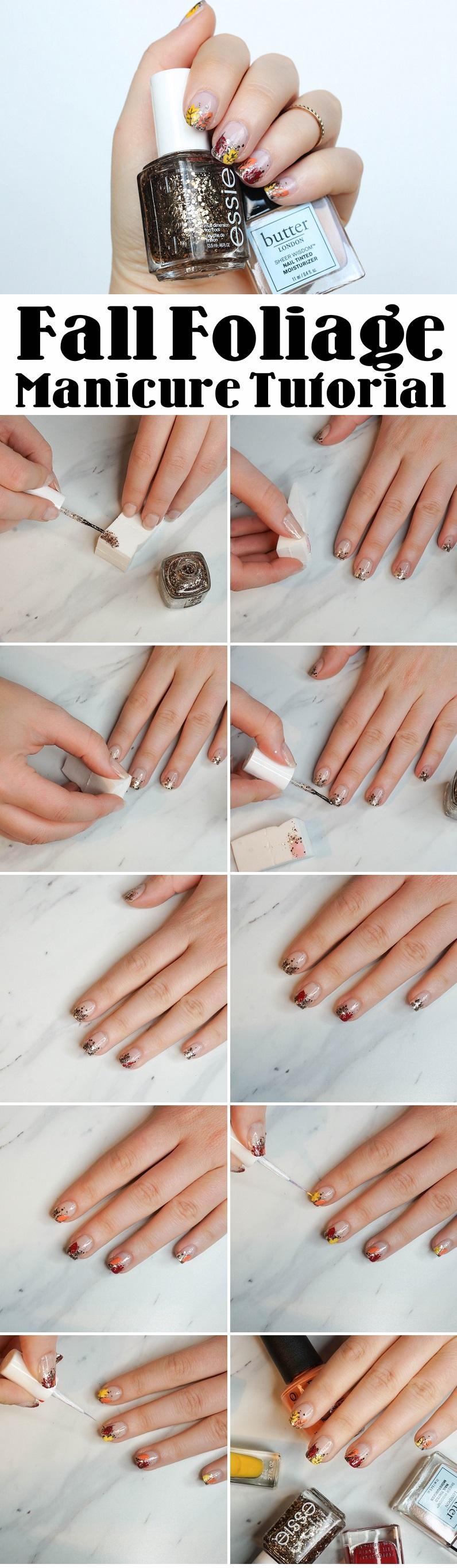 Step by Step Fall Foliage Manicure Tutorial Glitter Nail Art Jackie Giardina Living After Midnite