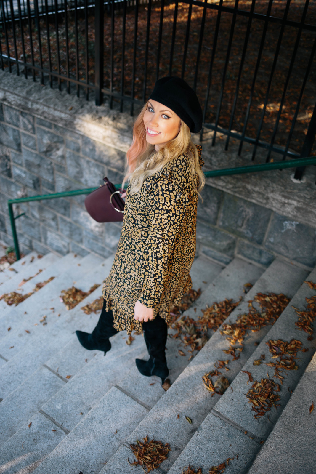 Fall Fashion Cheetah Dress Black Suede Over the Knee Boots Black Beret
