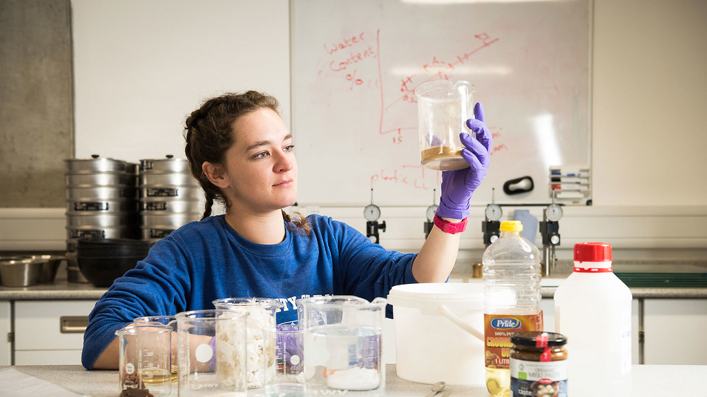 Postgraduate researcher in Faecal Sludge Management, Naomi Deering, at work in the lab.