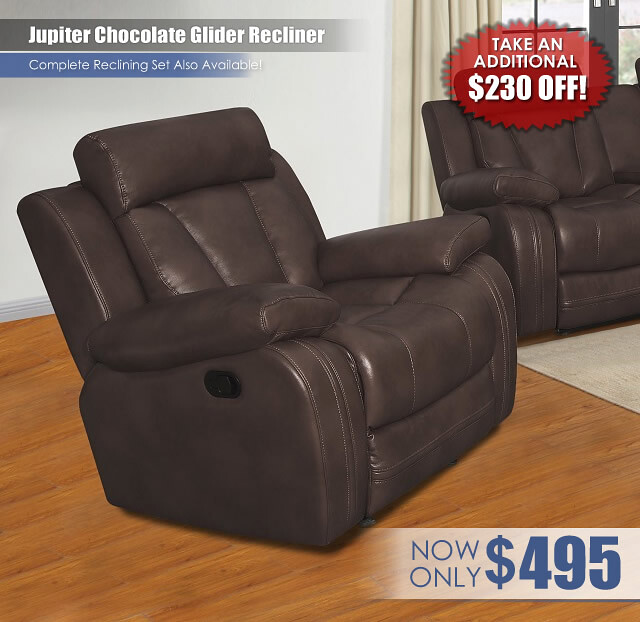 Jupiter Chocolate Glider Recliner Special
