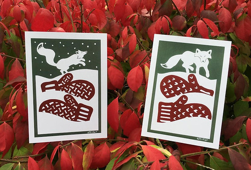 Papercut Fox Holiday Cards by Island Lines