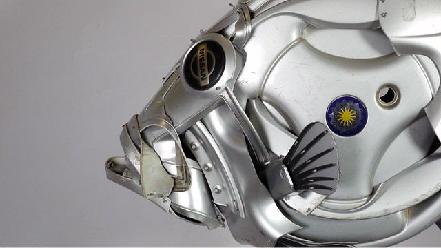 Close up of a fish #johndory #fish #fishing #angling #recycled #upcycled #art #sculpture #hubcapcreatures
