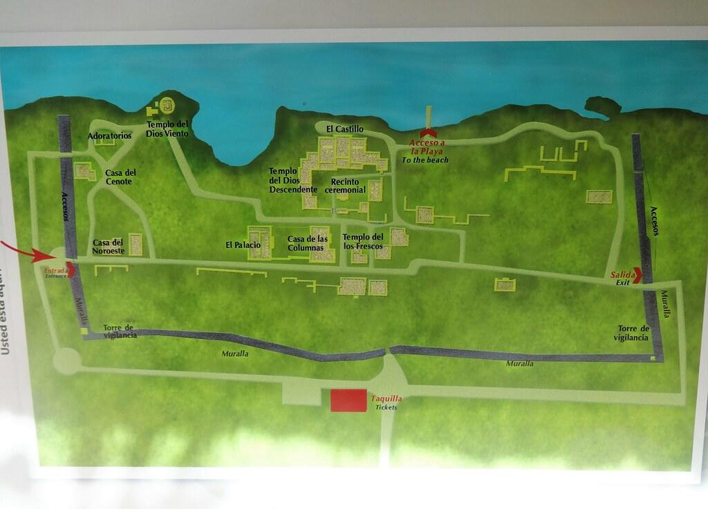 Plan ruin Majów w Tulum, Meksyk