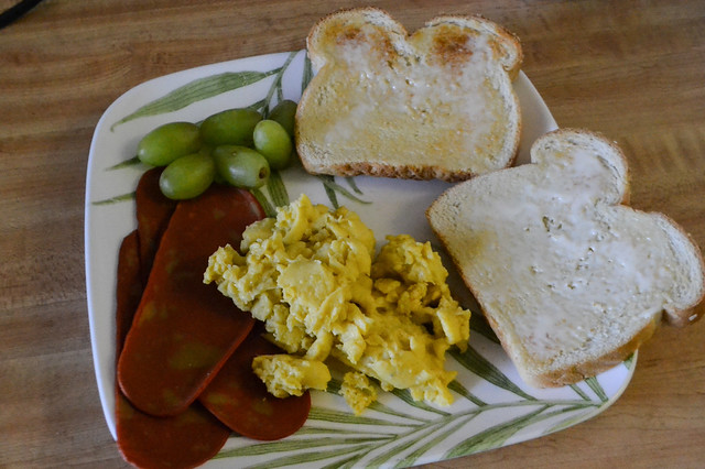 Soy Bacon, VeganEgg, Toast and Grapes (Vegan)