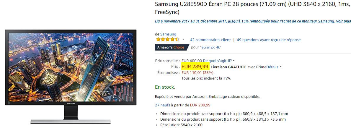 Bon Plan : Ecran 28 pouces Samsung U28E590D 3840 x 2160 à