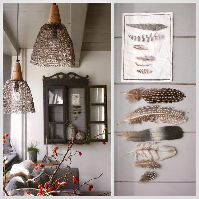 Hanglamp, kastje met veren