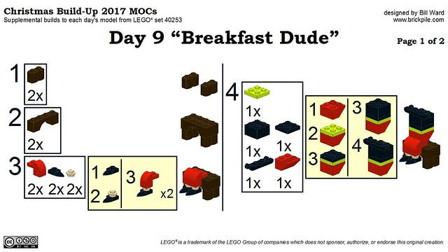 "Christmas Build-Up 2017 Day 9 ""Breakfast Dude"" MOC Instructions p1"