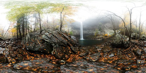 equirectangular 360degree 360x180 panorama outdoors ozonefalls trees tennessee waterfall autumn forest fog fall cliffs