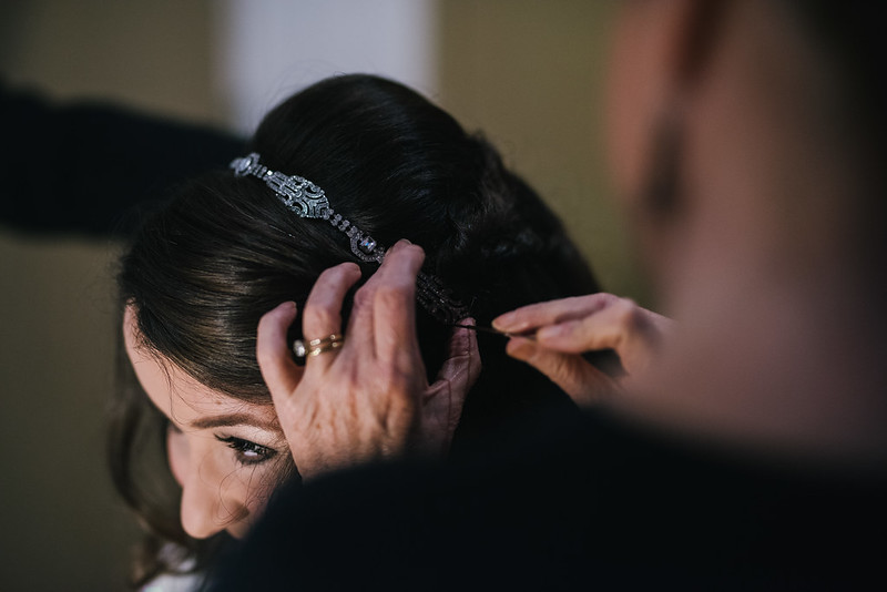 This is a picture of me having my hair styled for my wedding