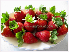 Fruits of Fragaria x ananassa (Strawberry, Garden Strawberry, Cultivated Strawberry) ready to be consumed fresh, 28 Oct 2013