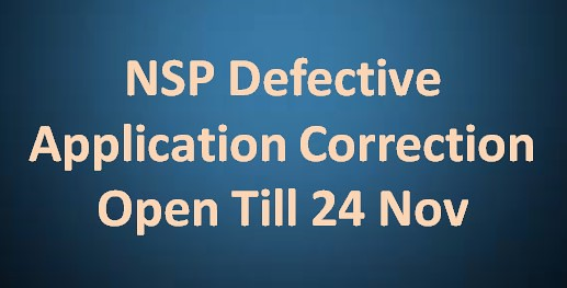 NSP Defective Application Correction Open Till 24 Nov